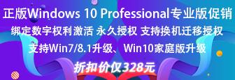 Windows 10 Professional 专业版正版促销 支持Win7/8.1升级、支持Win10家庭版升级